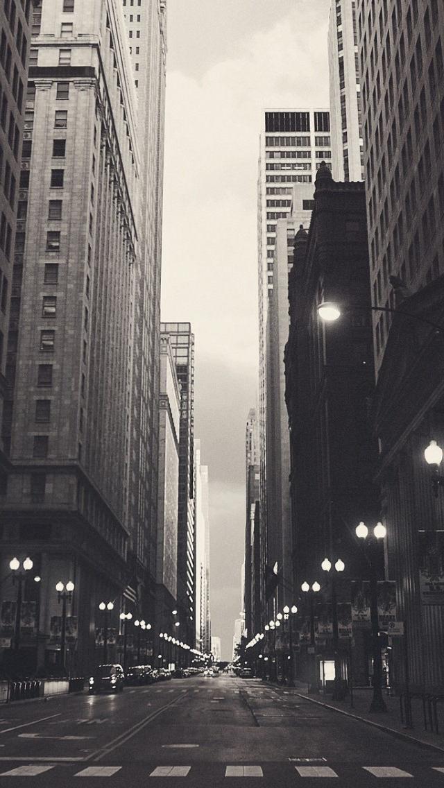 モノクロの大都会 iPhone5 スマホ用壁紙