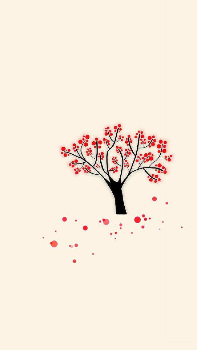 かわいい梅のイラスト iPhone5 スマホ用壁紙
