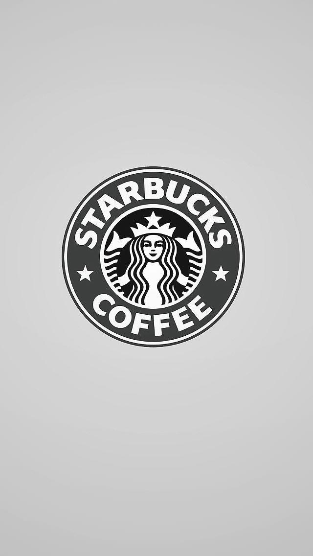 モノクロ スターバックスロゴ iPhone5 スマホ用壁紙
