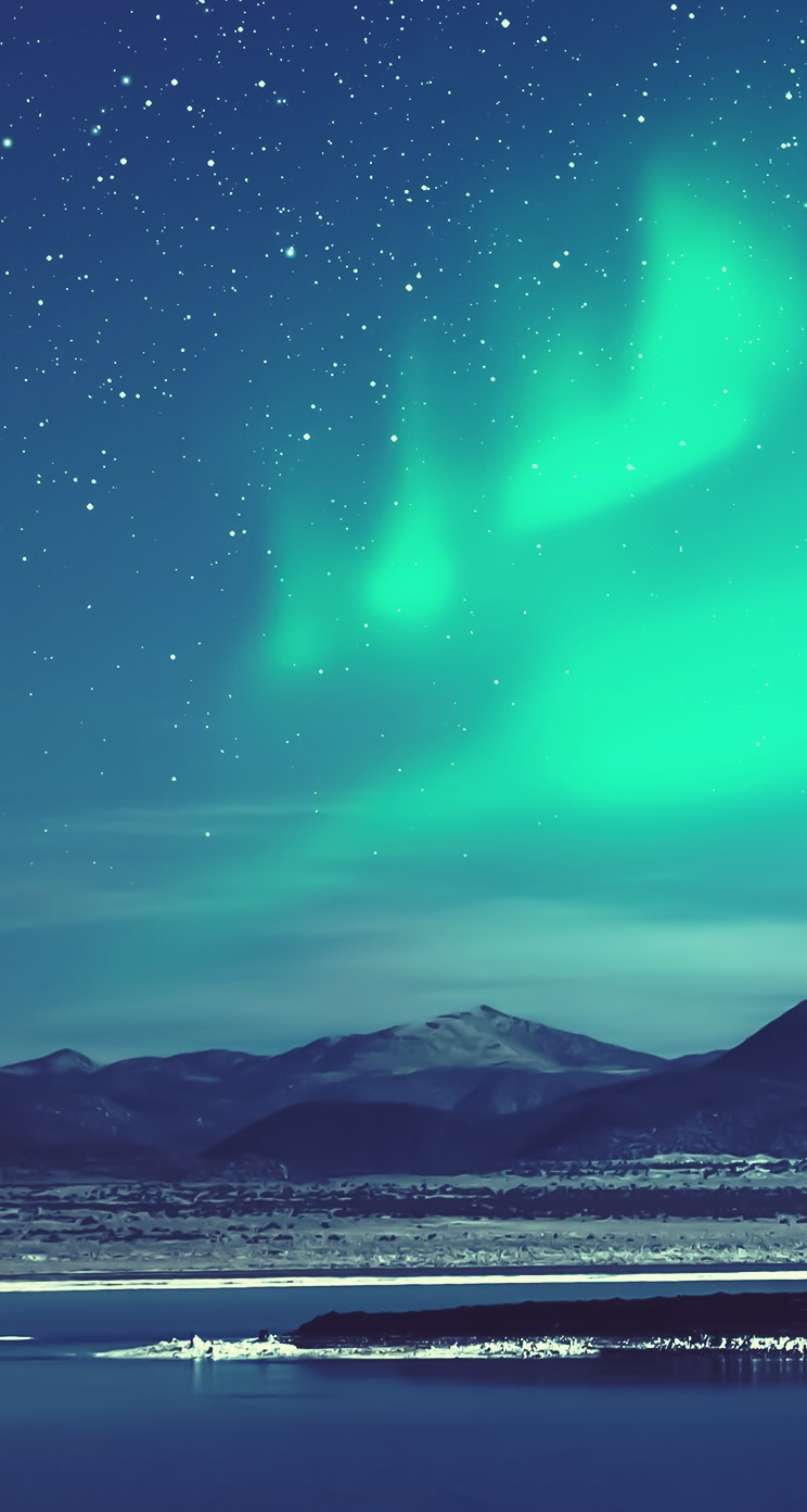 オーロラが綺麗な夜 iPhone5 スマホ壁紙