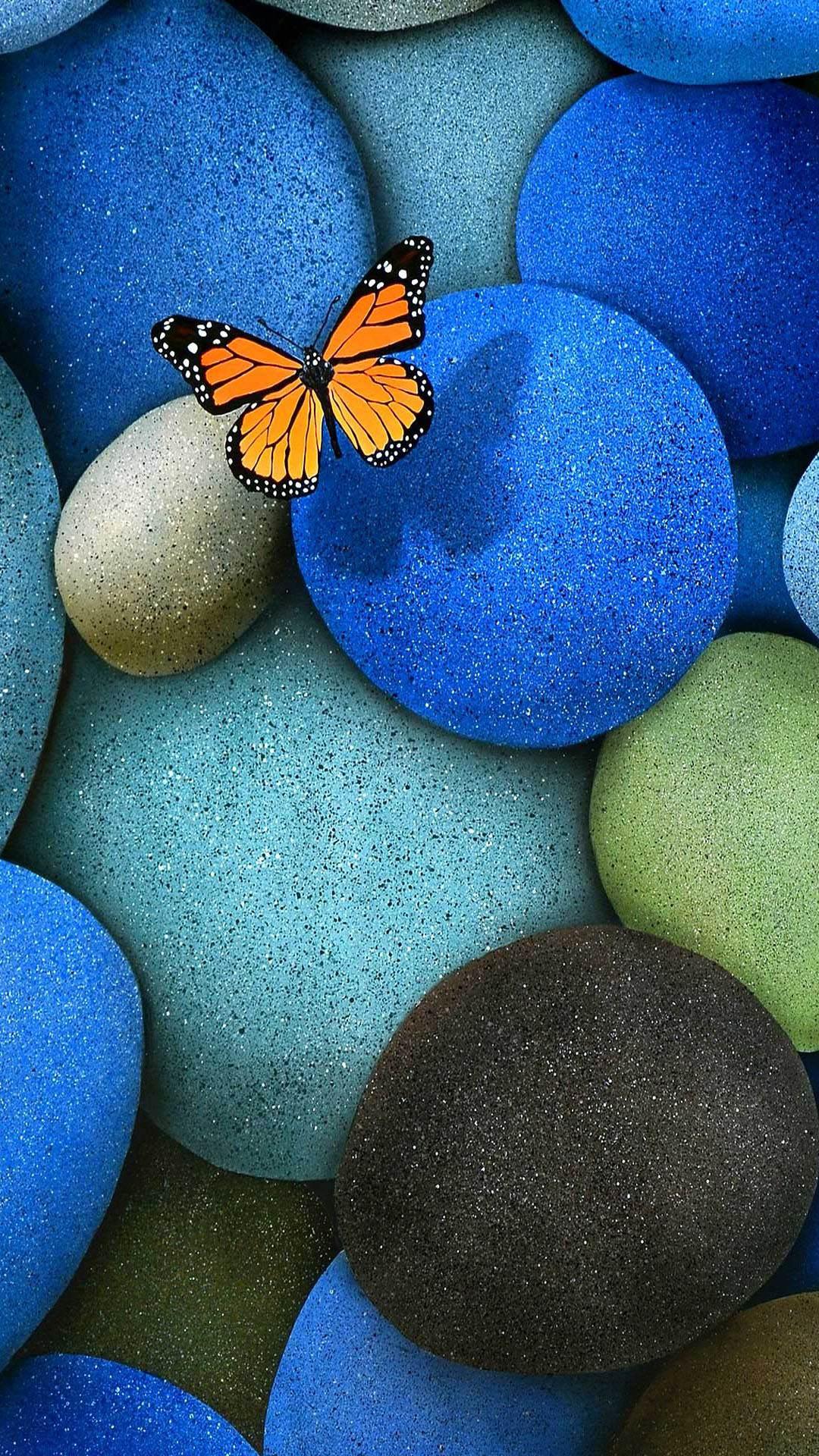 青い石と蝶 iPhone6 Plus 壁紙