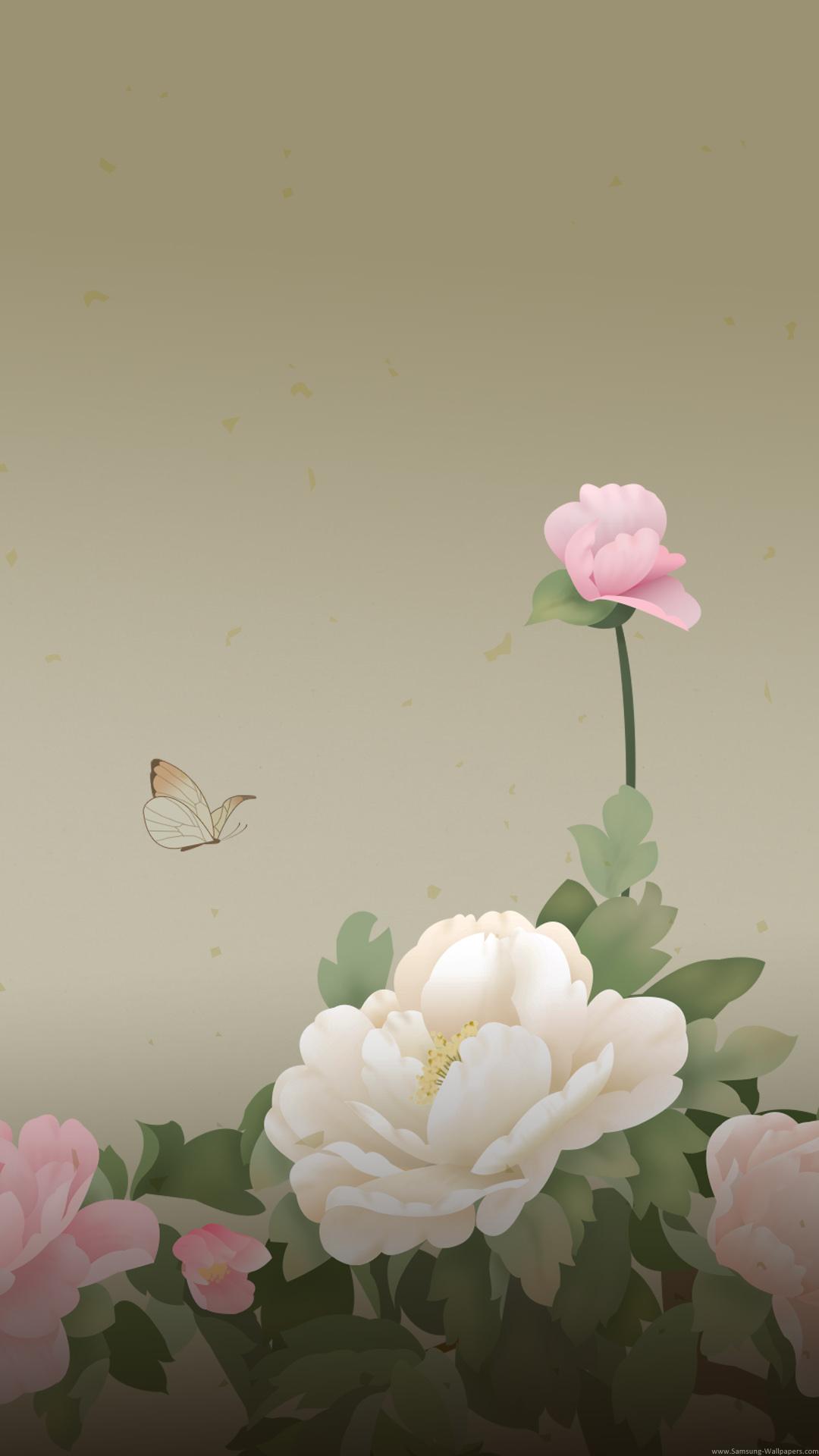 和風の花びらと蝶 iPhone6 Plus 壁紙