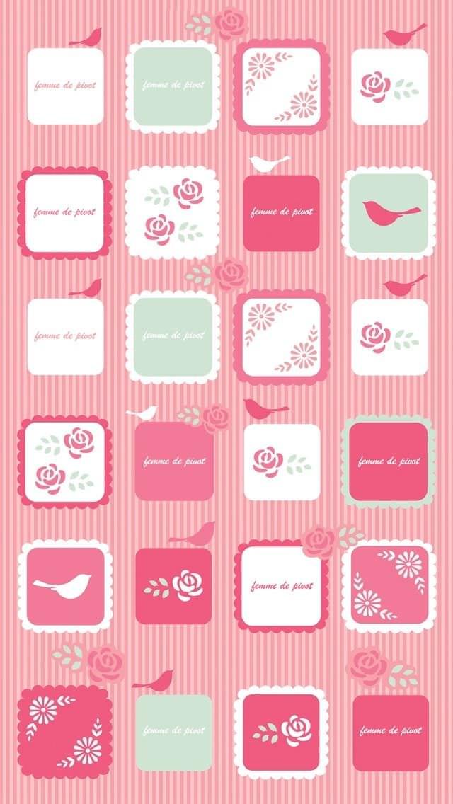 ピンクのボーダーと鳥 iPhone5壁紙