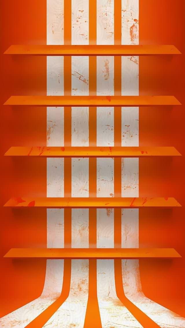 オレンジ・白線のストライプ iPhone5壁紙