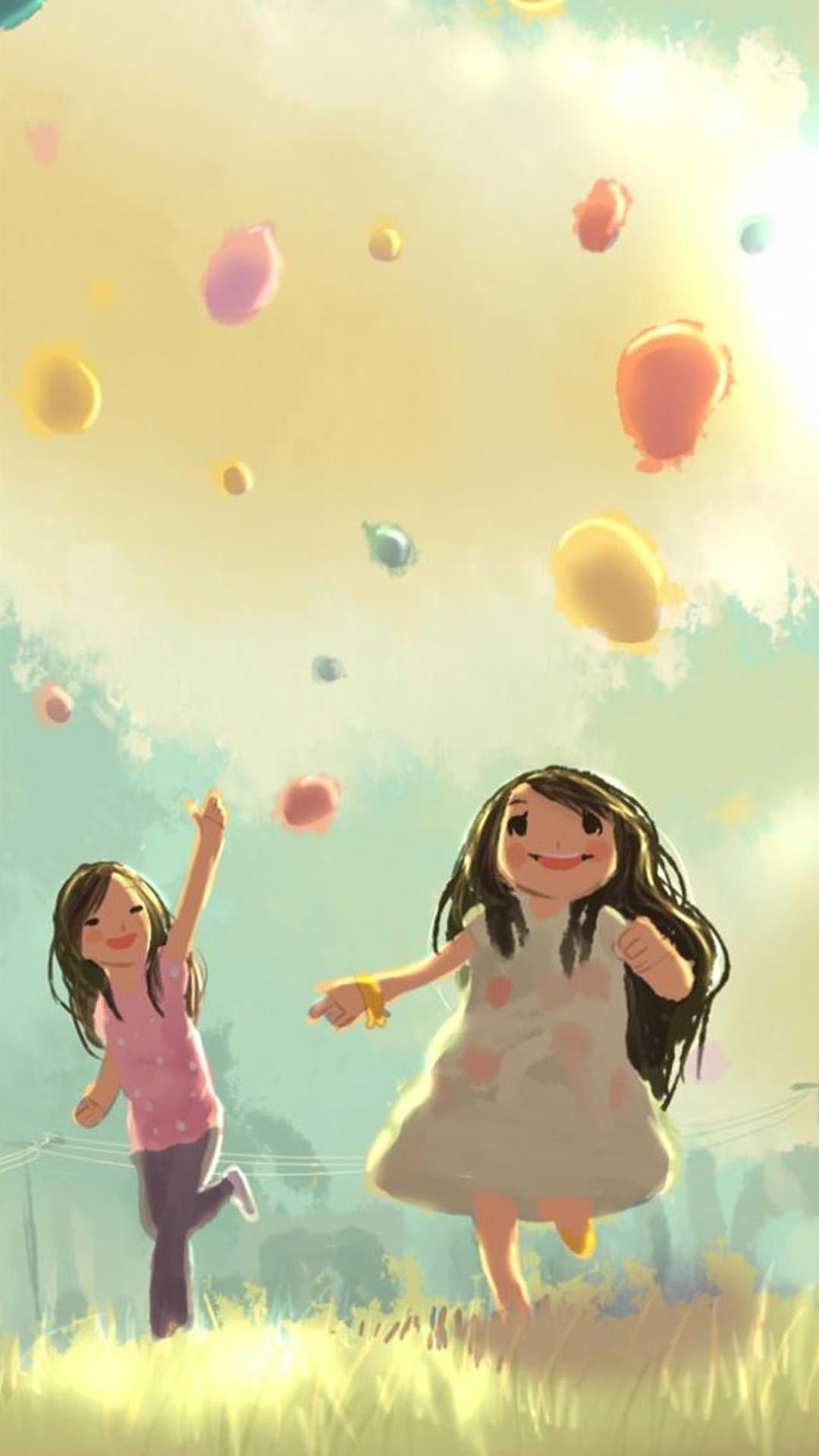 風船と少女 iPhon6壁紙