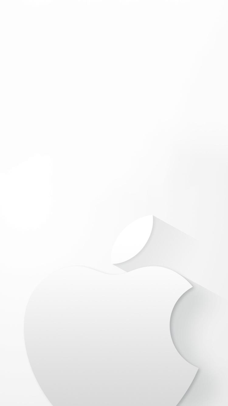 白のミニマルなアップルロゴ iPhone6壁紙