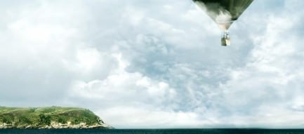 海岸線と気球 iPhone6 Plus壁紙