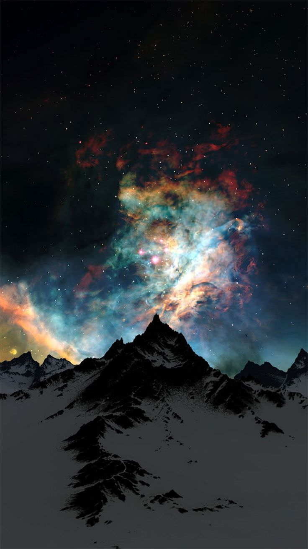 冬の雪山と夜空 iPhone6壁紙