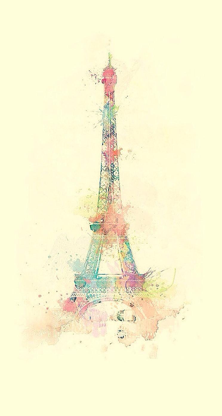 エッフェル塔の水彩画 iPhone5壁紙