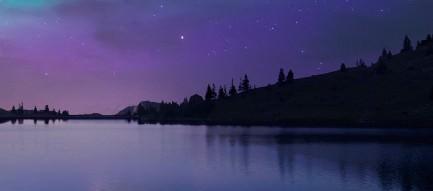 オーロラと湖畔 iPhone6 Plus壁紙