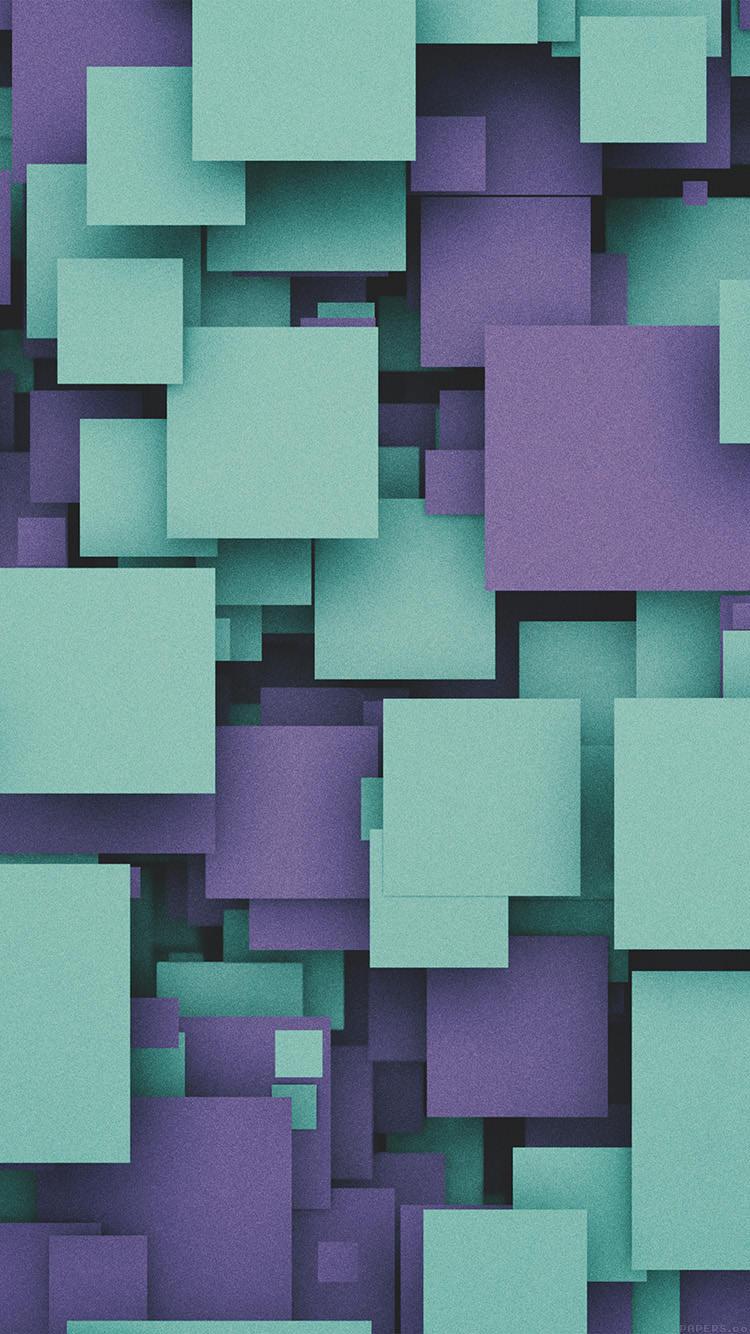 グリーン・パープルのキューブ iPhone6 壁紙