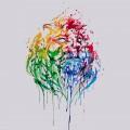 絵の具で描いたライオン iPhone6 壁紙
