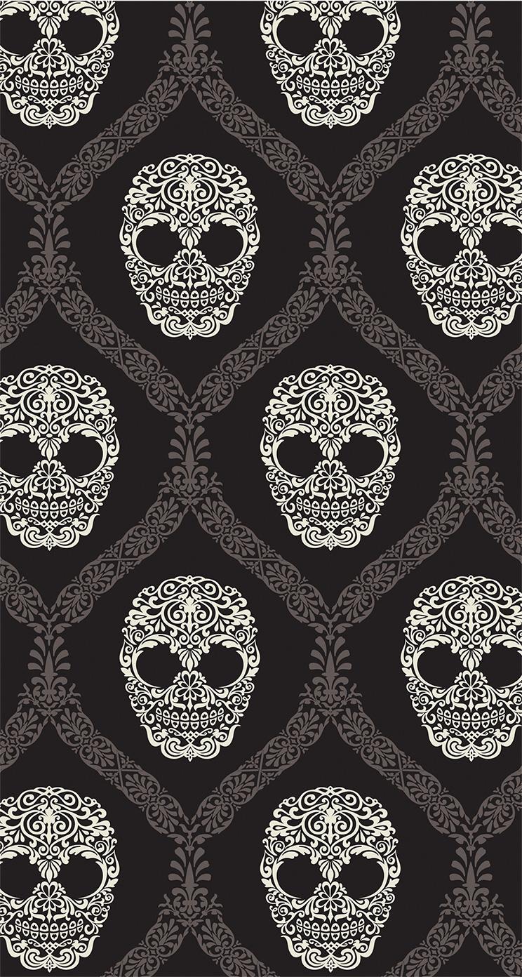 かっこいいドクロのパターン iPhone6壁紙