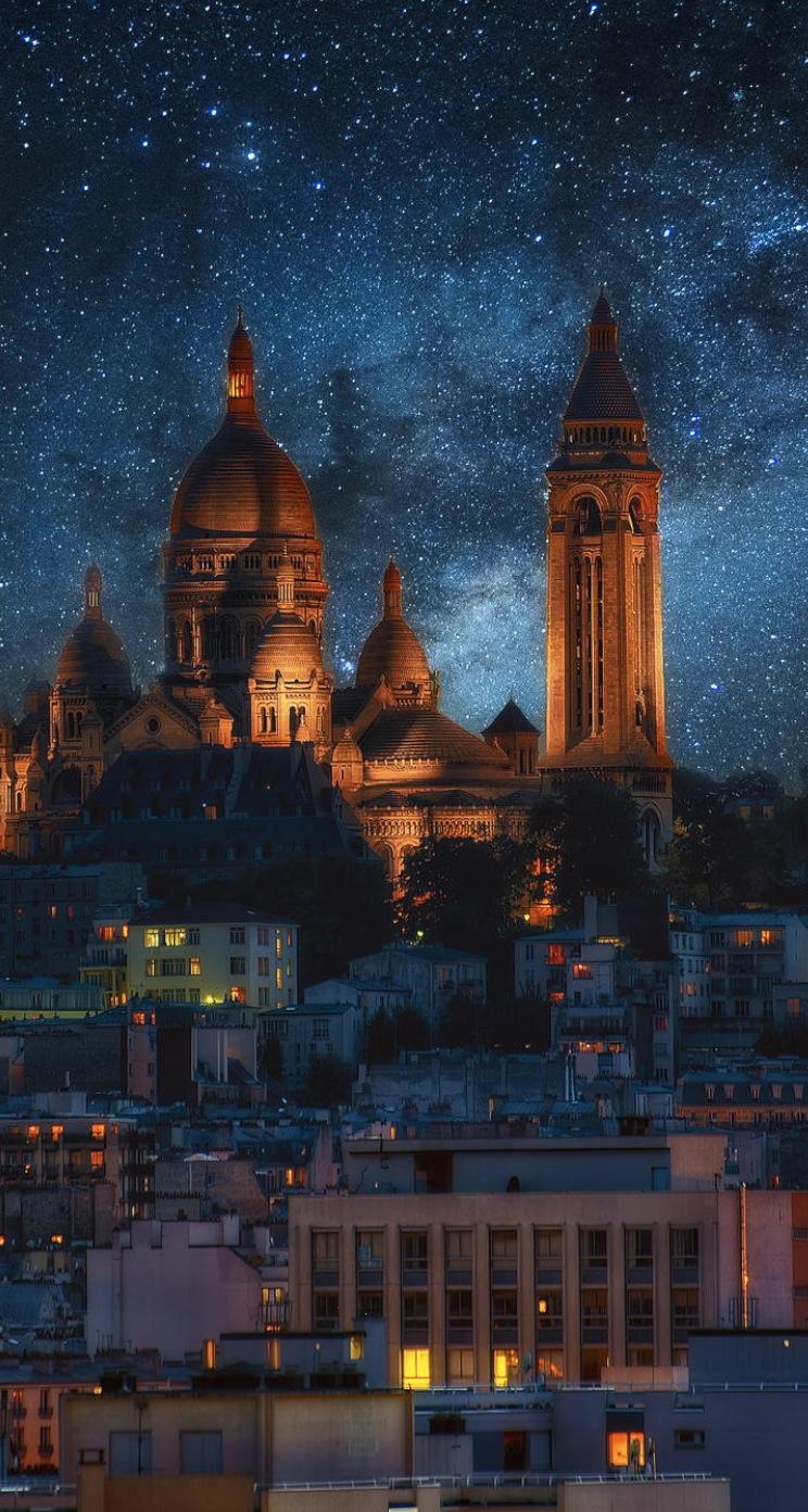 夜の欧州の街並み iPhone6壁紙