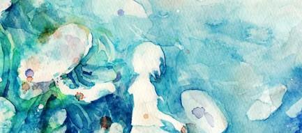 少女の水彩画 iPhone6 壁紙