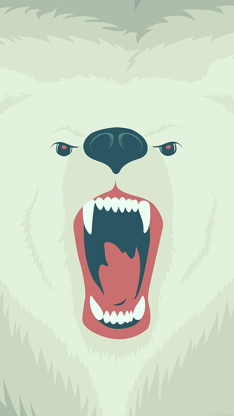 咆哮する白熊のイラスト iPhone6壁紙