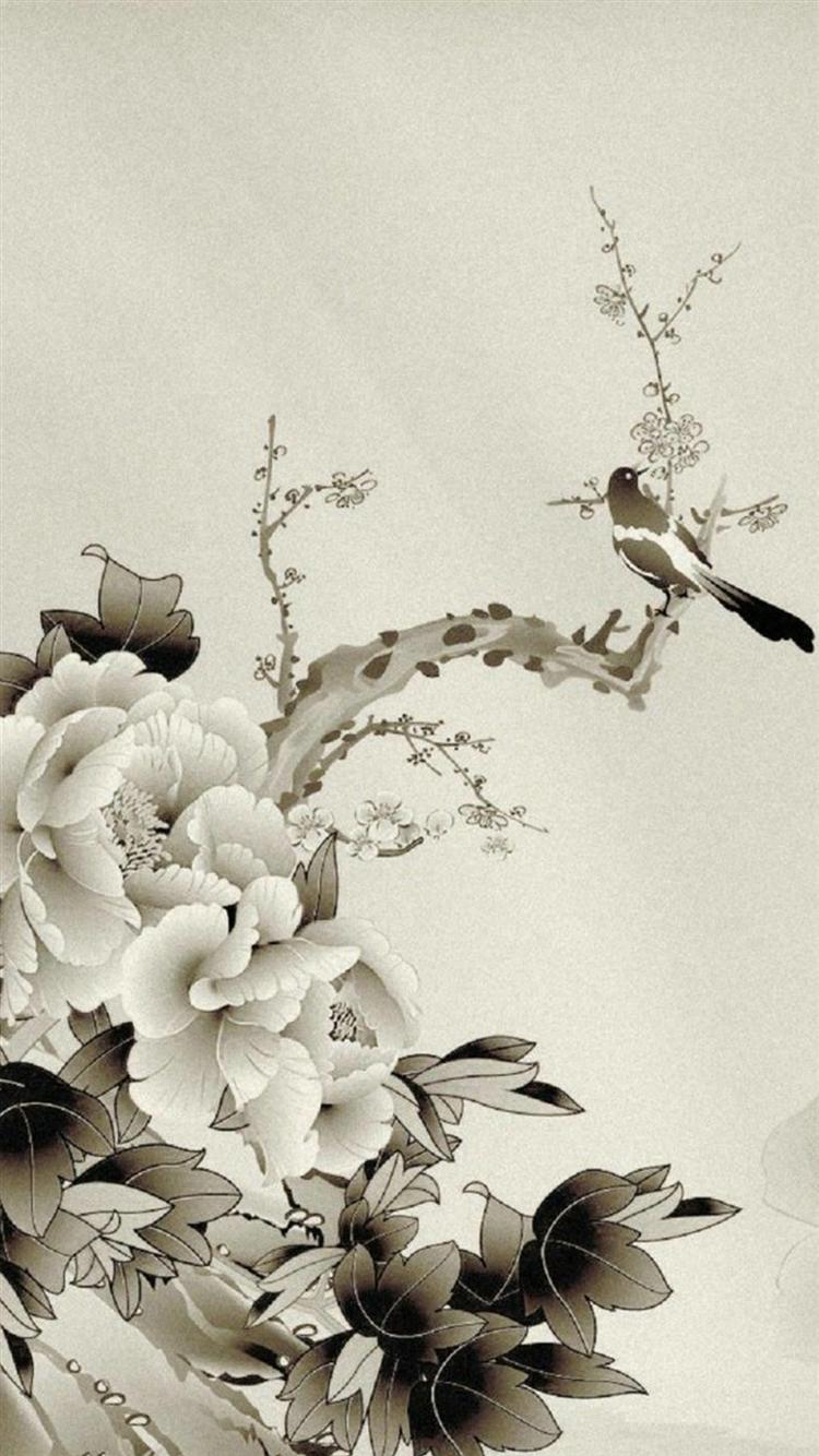 水彩画 鳥と花 iPhone6 壁紙