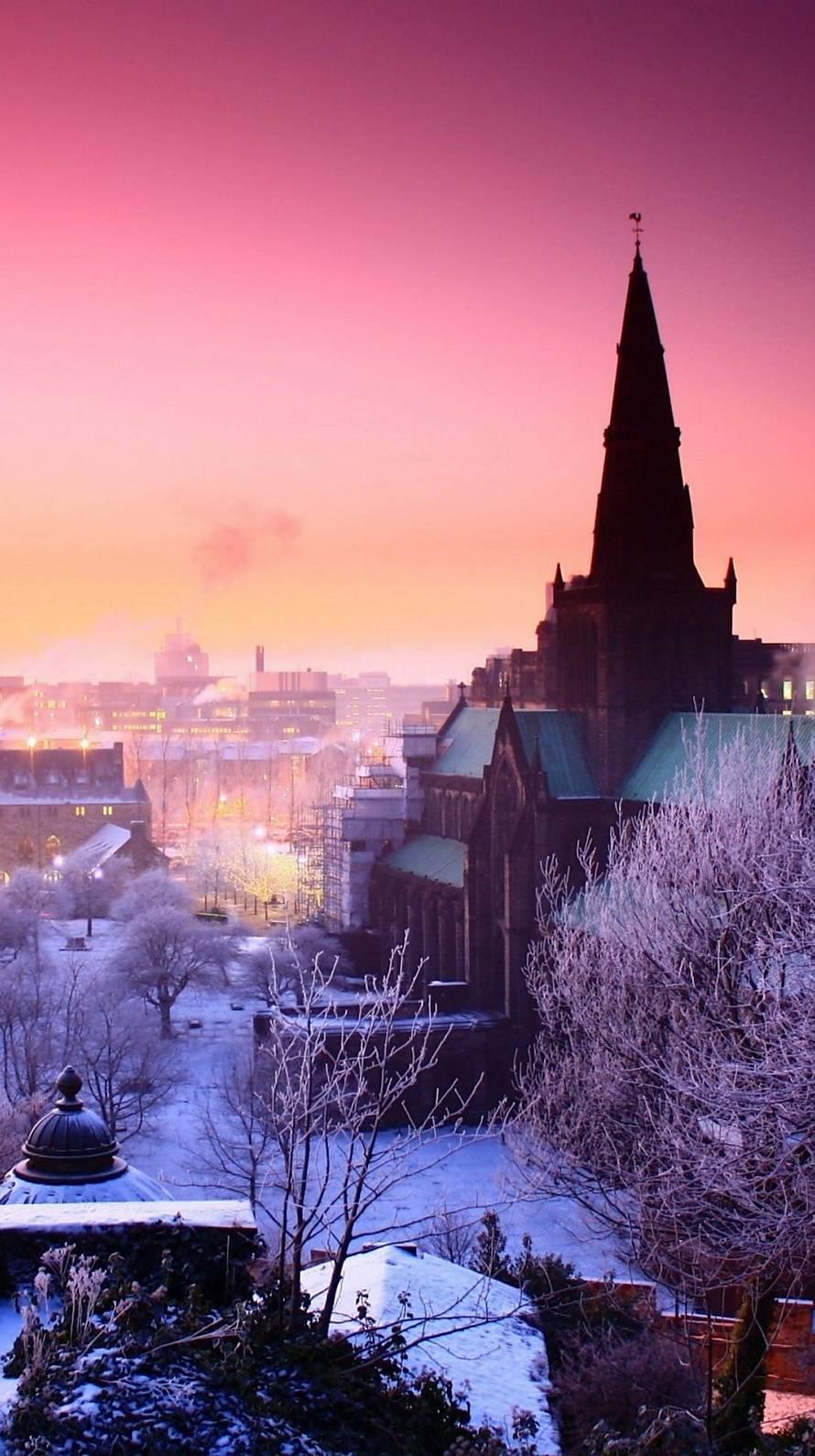 雪景色と洋館 iPhone6壁紙