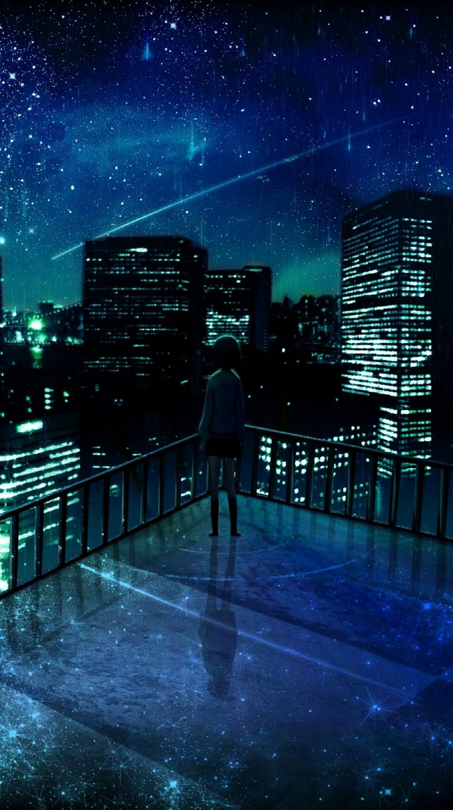 屋上から観る流れ星 iPhone6壁紙