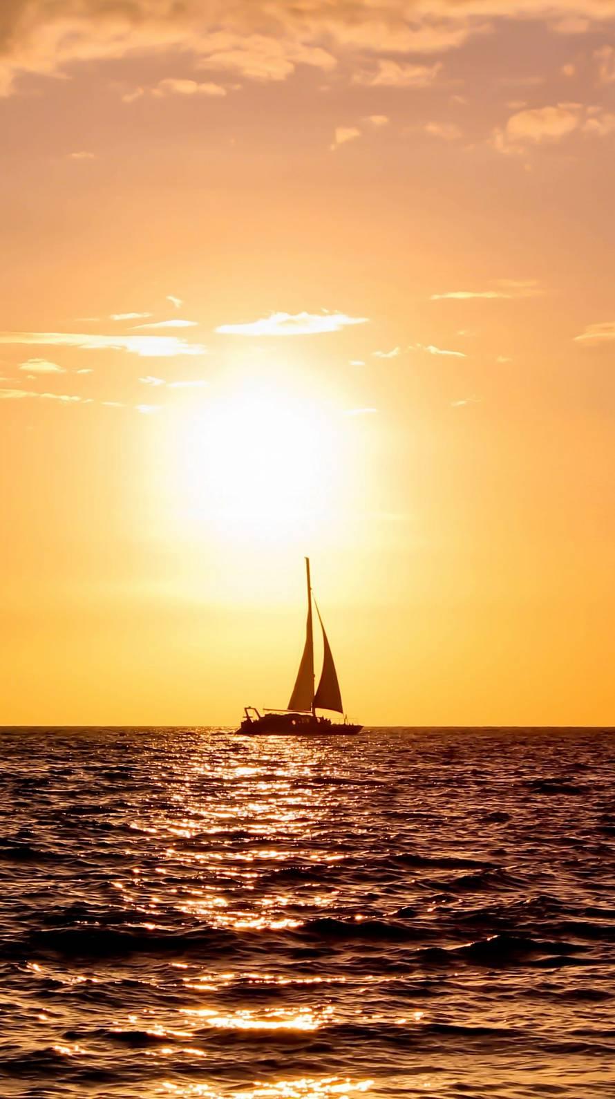 ヨットと夕日 iPhone6壁紙