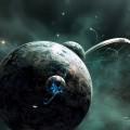 宇宙と宇宙船 iPhone6壁紙