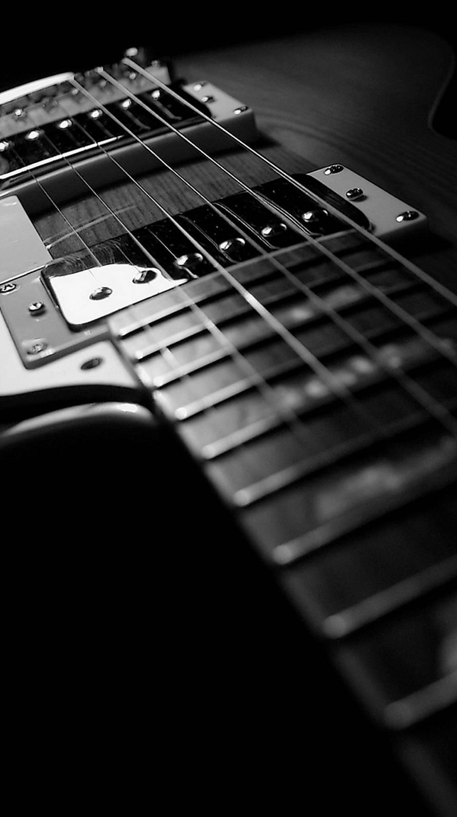 モノクロのギター iPhone6壁紙