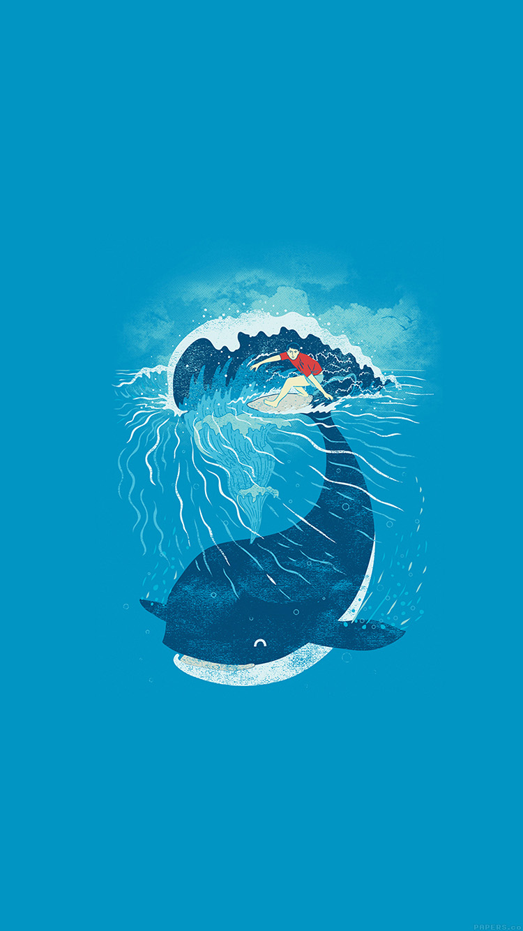 クジラ&サーフィン iPhone6壁紙