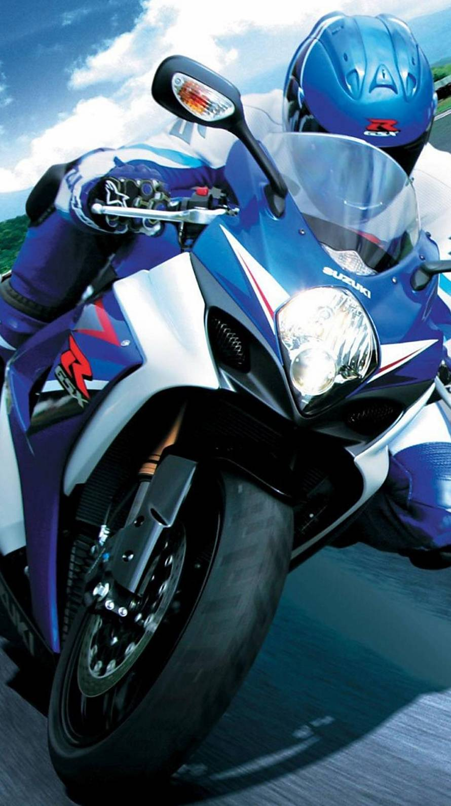 青のバイクレーサー iPhone6壁紙