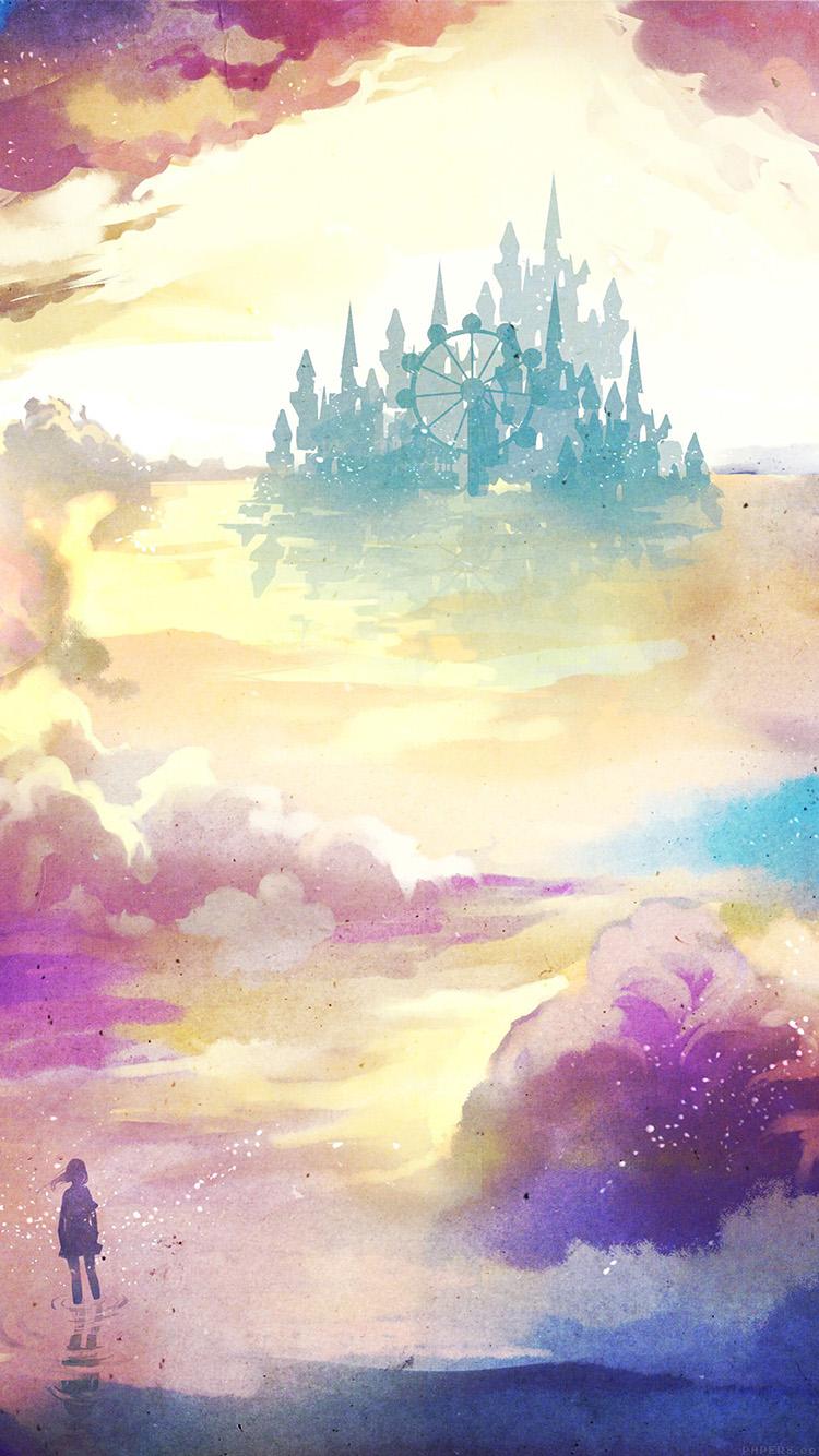 お城が見える幻想的な風景 iPhone6壁紙