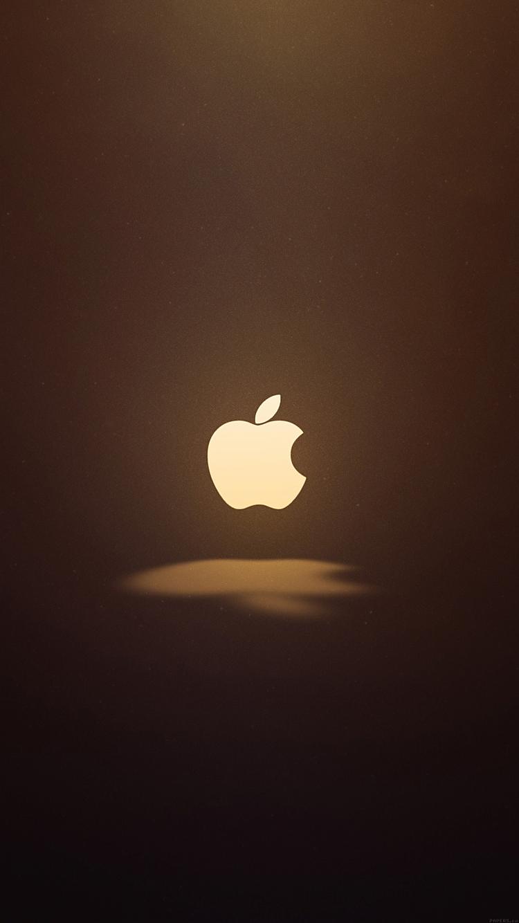 茶色地のアップルロゴ iPhone6壁紙