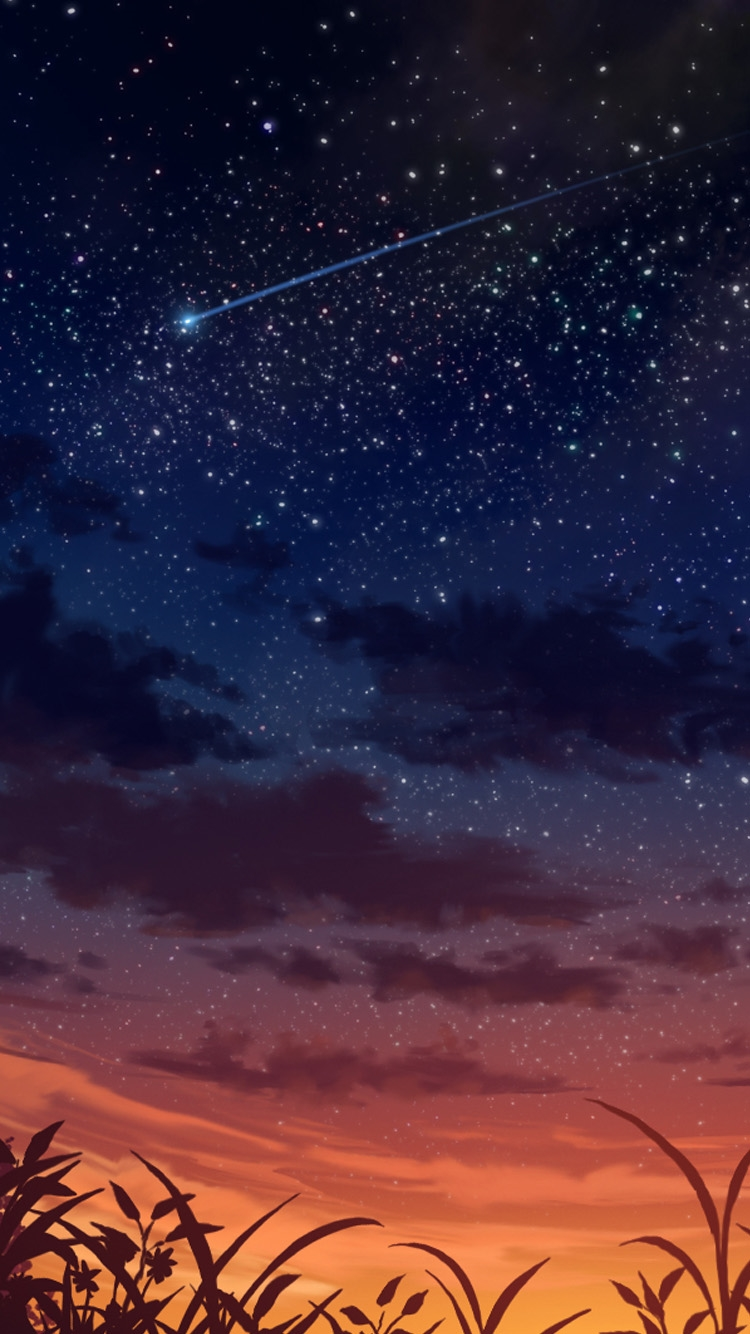 夕暮れ時の流れ星 iPhone6壁紙