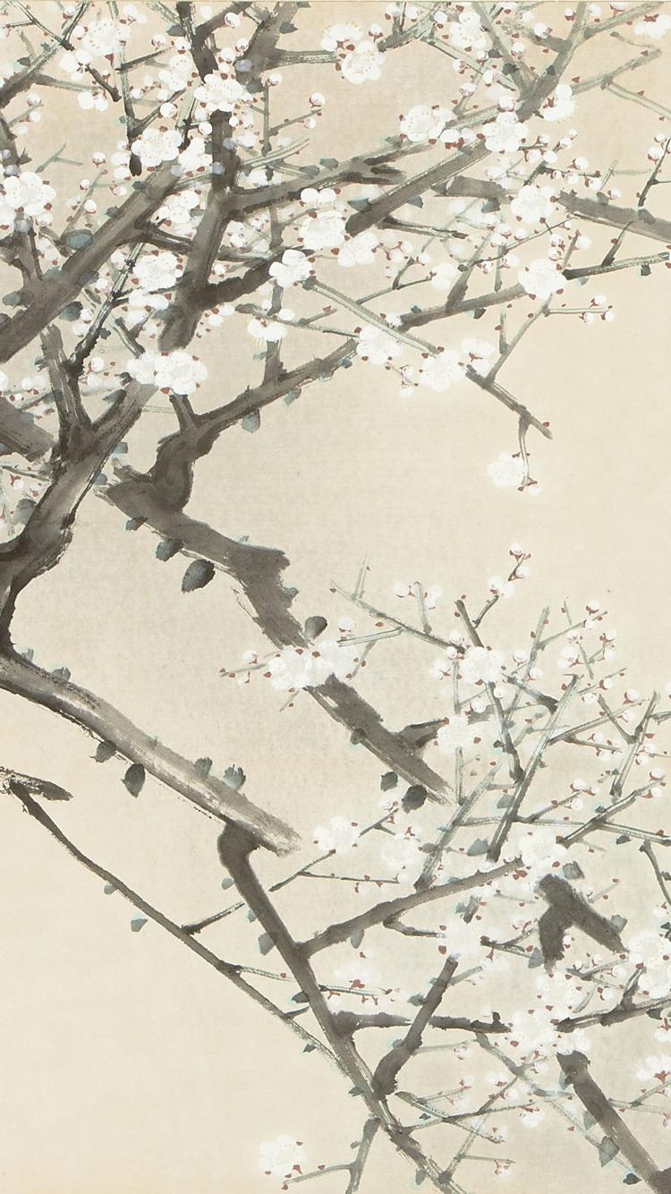 かわいい梅の花のイラスト iphone6壁紙 | wallpaperbox
