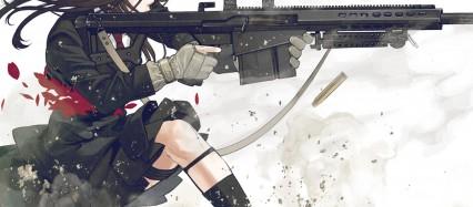 銃を乱射する少女 Android壁紙(2160x1920)