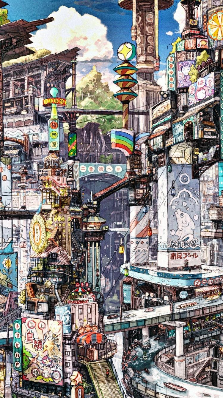 賑やかな街 iPhone6壁紙