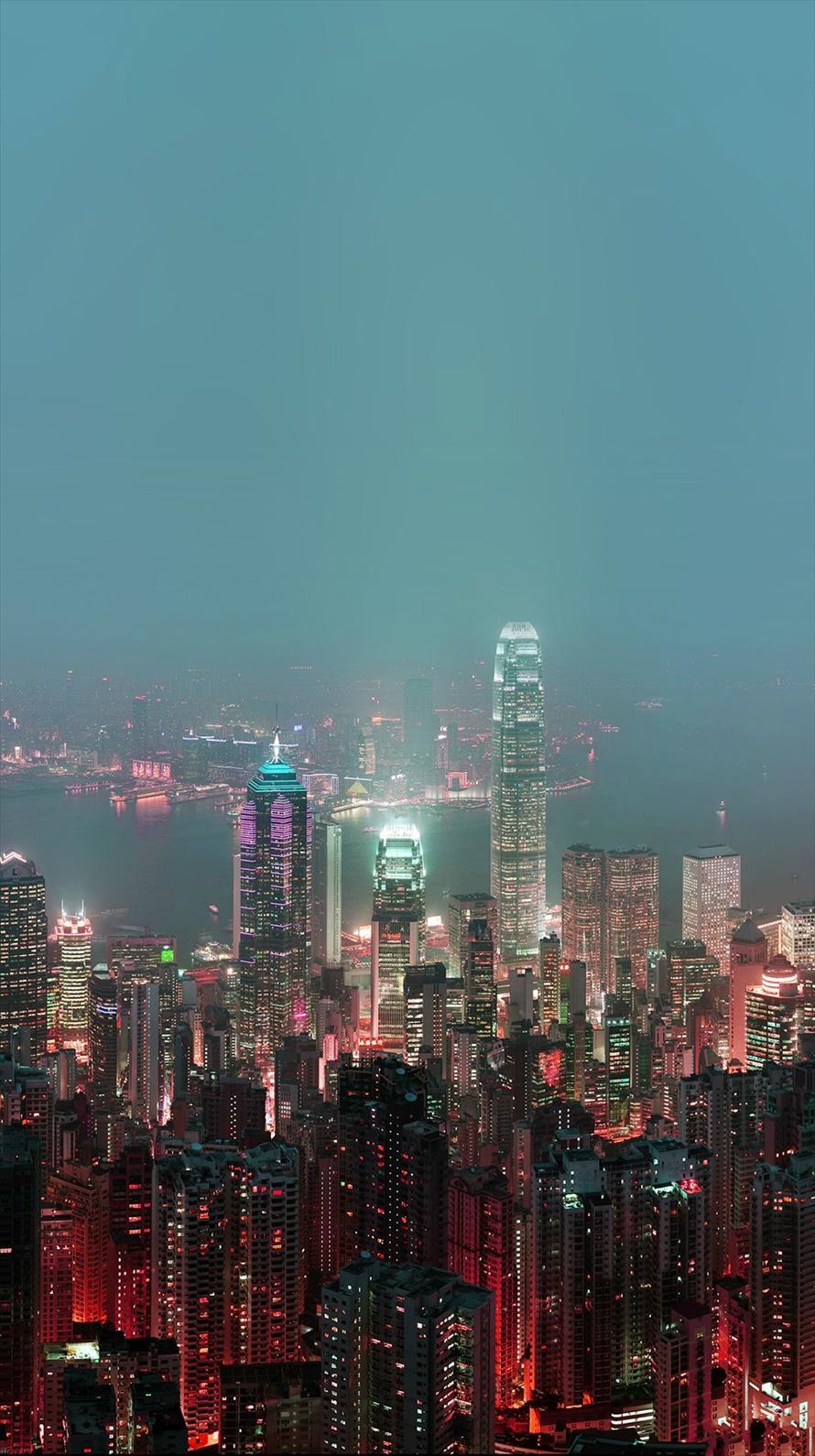 香港の夜景 iPhone6壁紙