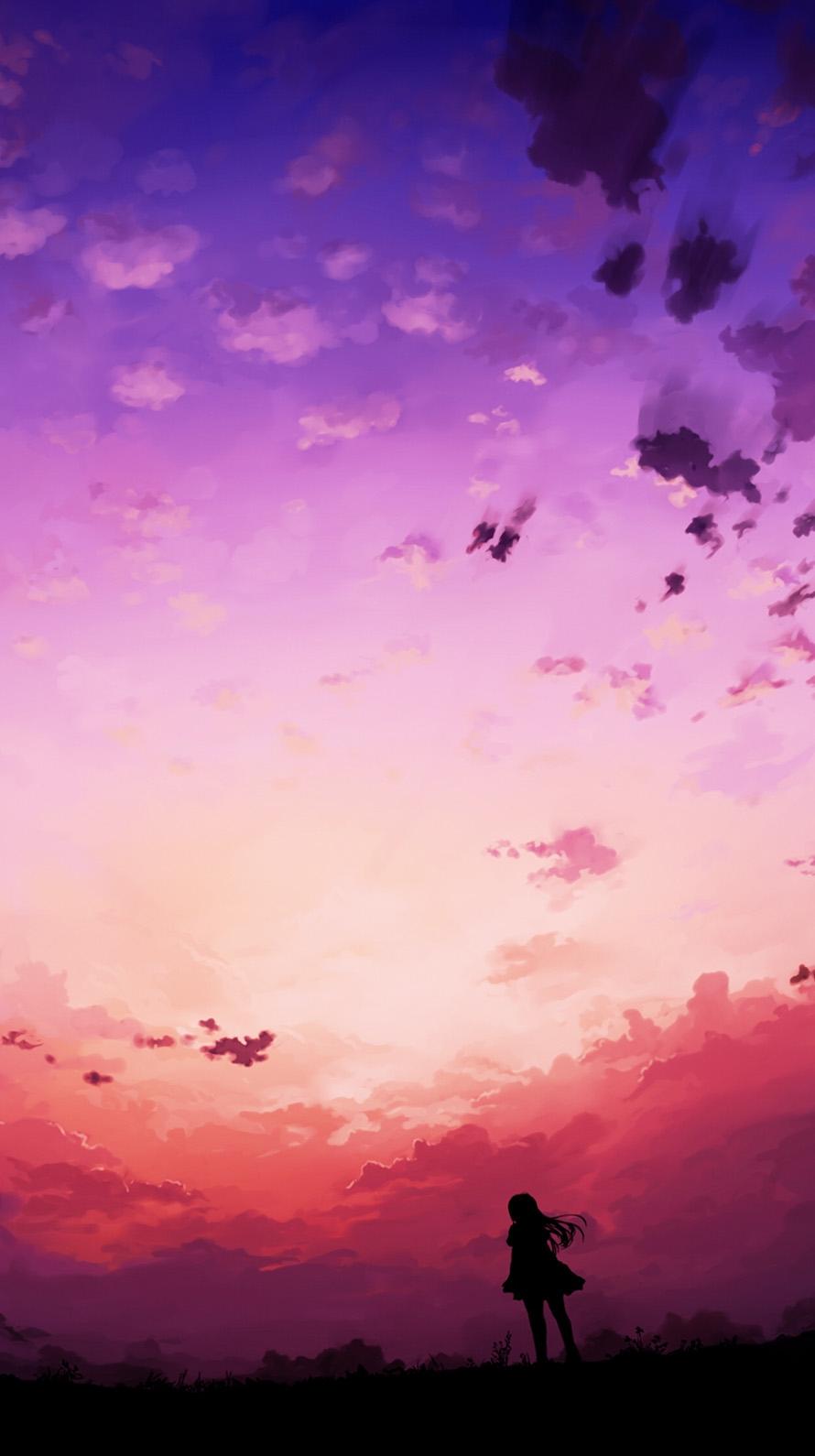 紫の夕暮れ iPhone6壁紙
