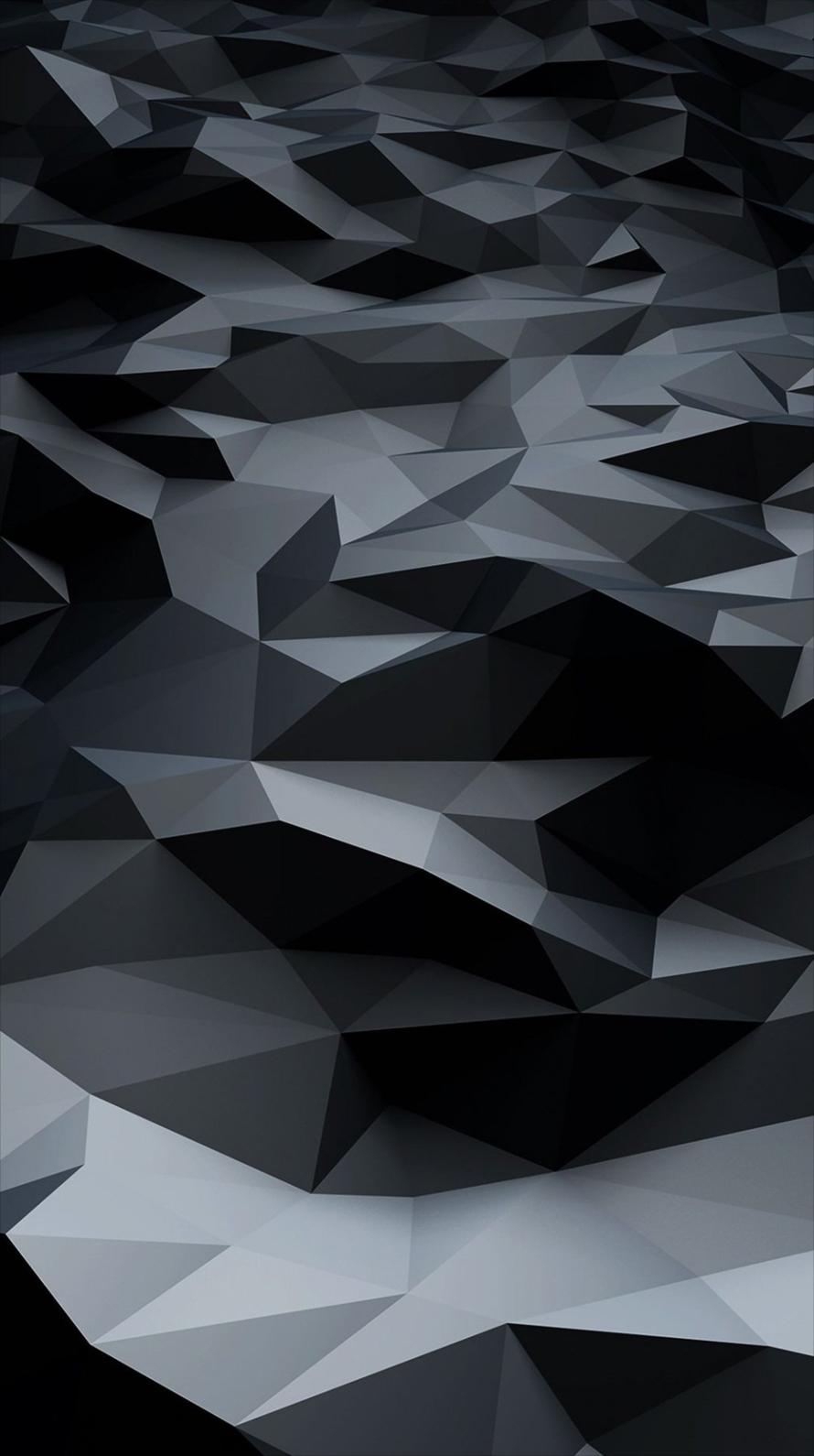 水平の続く黒のポリゴン iPhone6壁紙