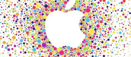 カラフルなドットで描かれたアップルロゴ iPhone6壁紙