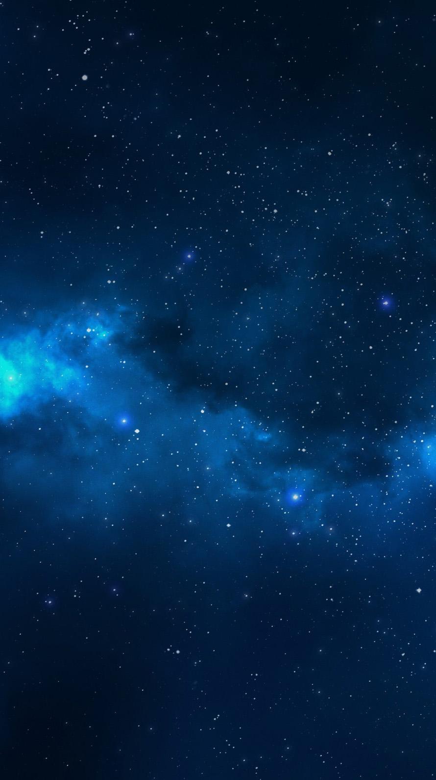 青い満天の星空 iPhone6壁紙