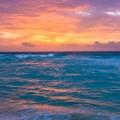 夕日に染まる海 iPhone6壁紙