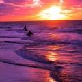 夕日 海 サーフィン iPhone6壁紙