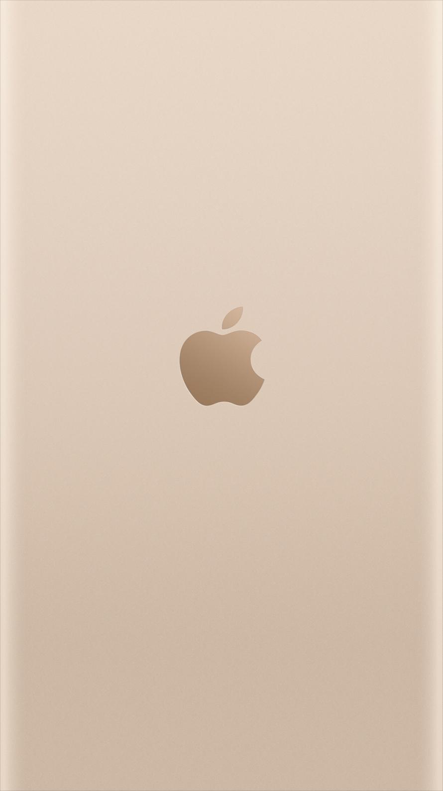 ライトゴールド アップルロゴ iPhone6壁紙