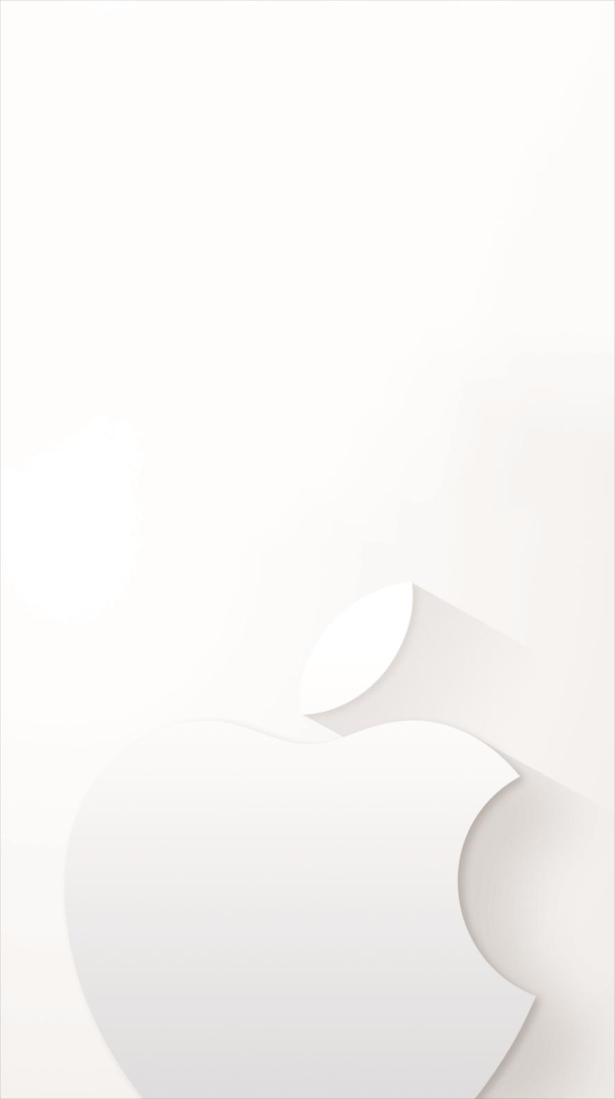 ミニマル ホワイト アップルロゴ iPhone6壁紙