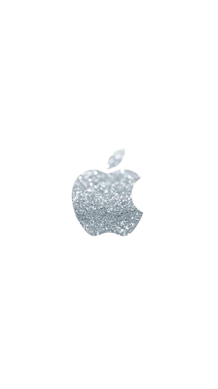 シンプル 銀のアップルロゴ iPhone6壁紙