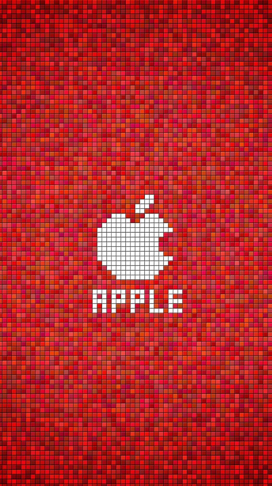 ドット APPLE 赤 iPhone6壁紙