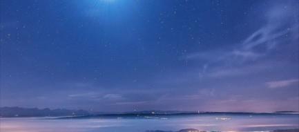 街の光と星空 iPhone6壁紙