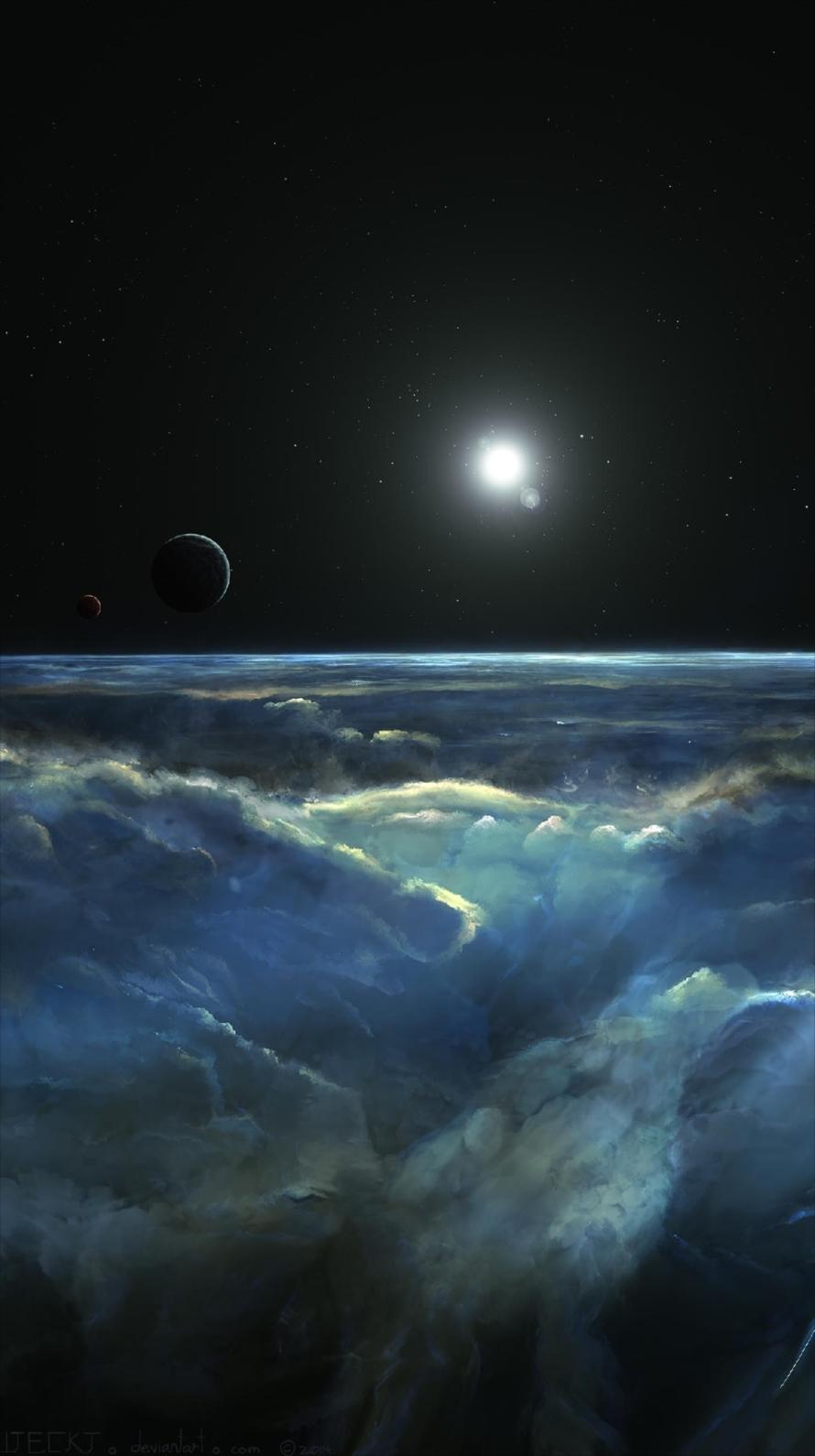 地平線と宇宙 iPhone6壁紙