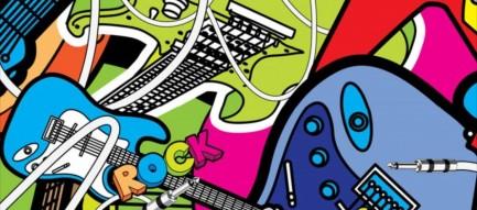 ポップなギター イラスト iPhone6壁紙