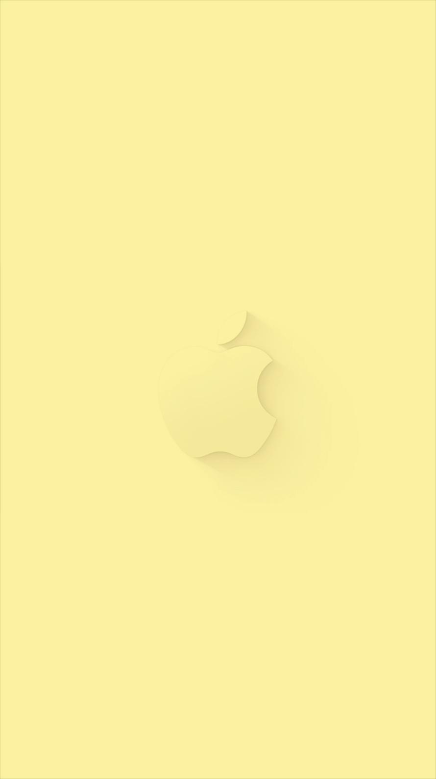 薄黄色 アップルマーク iPhone6壁紙