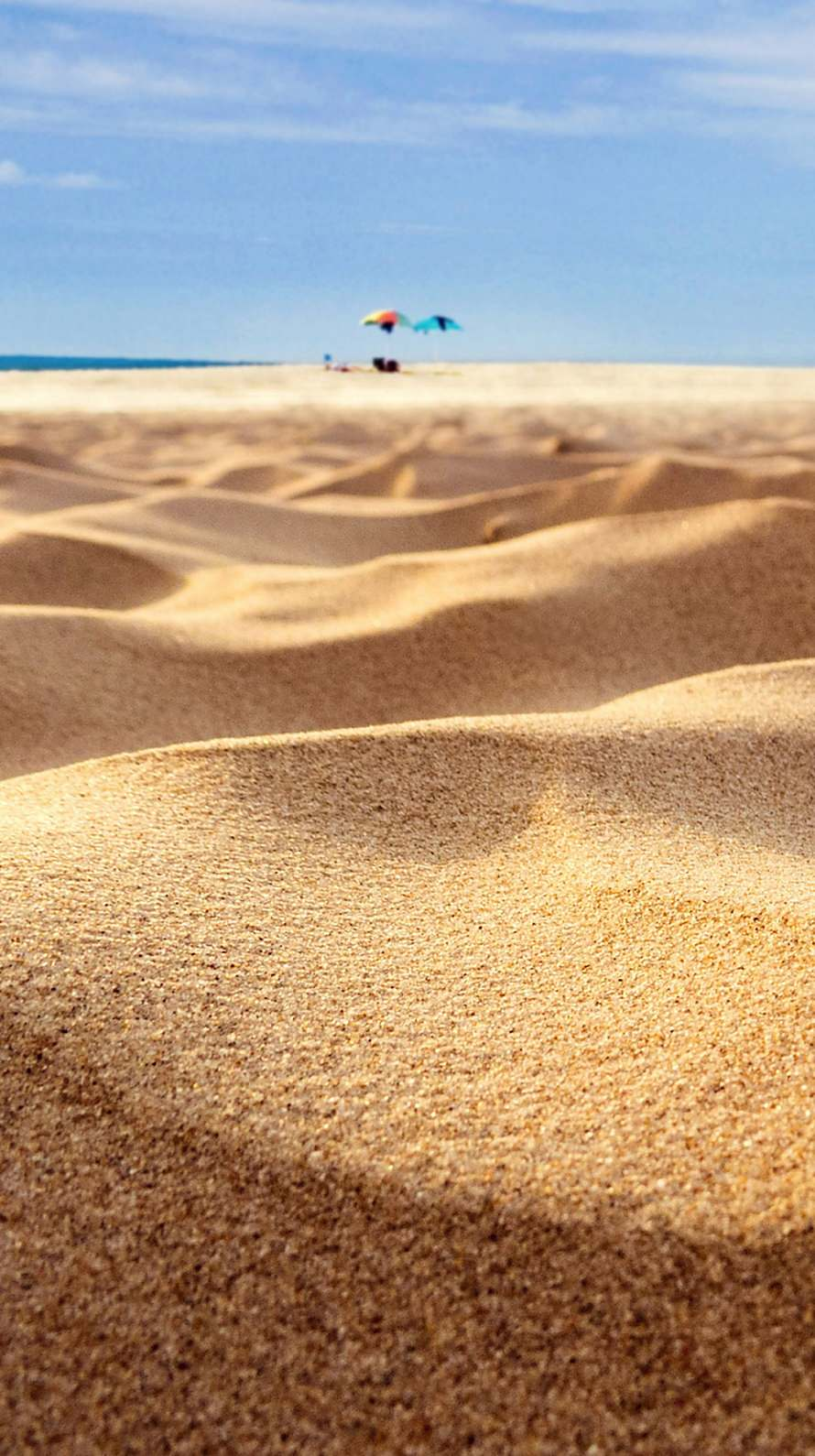 海 パラソル 砂漠 iPhone6壁紙